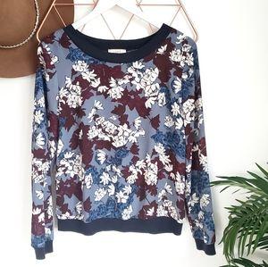 LOFT, Blue Floral Semi Sheer Banded Hem Blouse, S